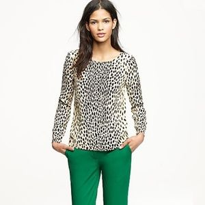 J. Crew Scoopneck Blouse Cheetah Print Size 6
